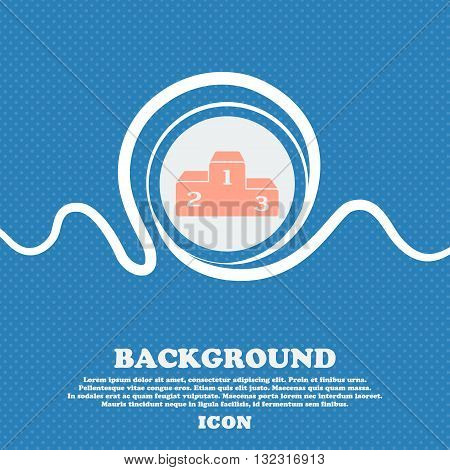 Podium Sign. Blue And White Abstract Background Flecked With Space For Text And Your Design. Vector