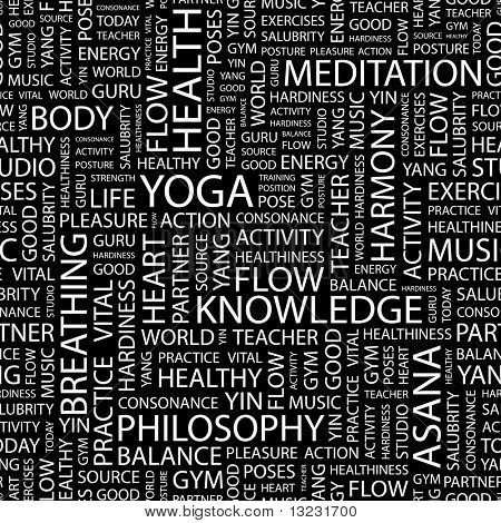 YOGA. Seamless vector background. Wordcloud illustration.