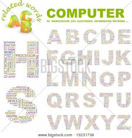 COMPUTER. Vector letter collection. Wordcloud illustration.