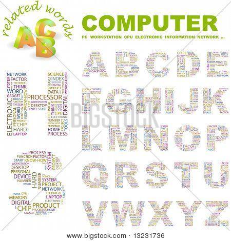 COMPUTADOR. Coleção de letra vector. Ilustração de wordcloud.
