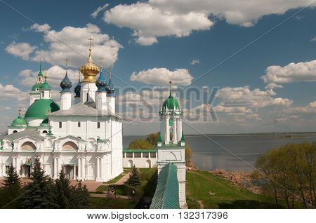 ROSTOV RUSSIA MAY 08. 2016: - Rostov the Great Spaso-Yakovlevsky Dmitriev monastery The Cathedral Of The Conception Of Anne and The Church Of Jacob Of Rostov and Nero lake