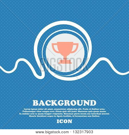 Trophy Cup Sign. Blue And White Abstract Background Flecked With Space For Text And Your Design. Vec
