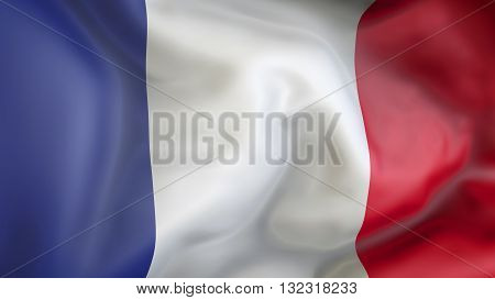 French flag waving in the wind 3d rendering