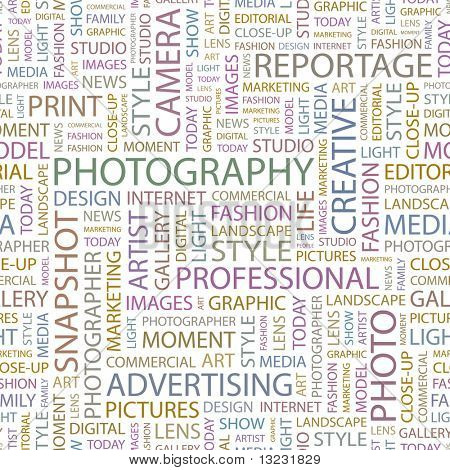 PHOTOGRAPHY. Seamless vector background. Wordcloud illustration.