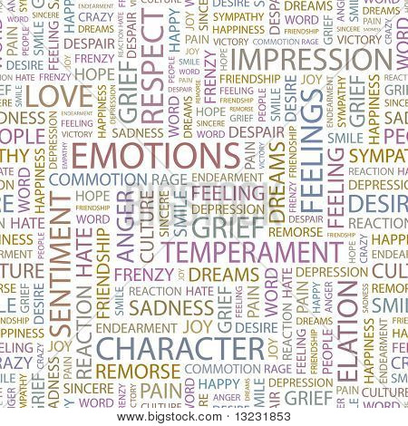 EMOTIONS. Seamless vector pattern with word cloud.