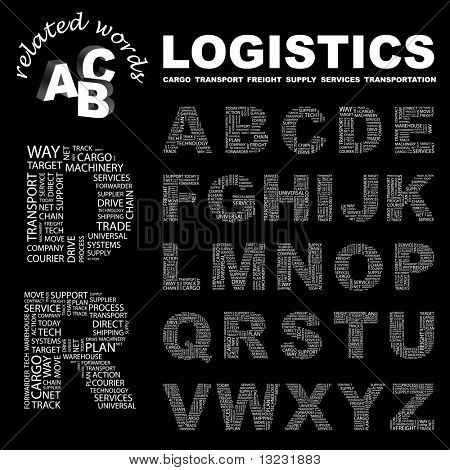 LOGISTICS. Vector letter collection. Wordcloud illustration.