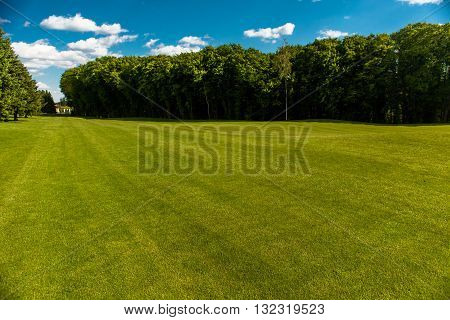 Green golf field and blue cloudy sky. European landscape. Nice nature and environment with blue sky and white clouds.