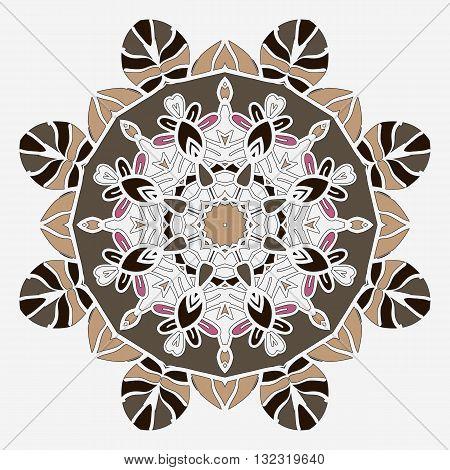 Stylized mandala temlate handmade vintage element for design