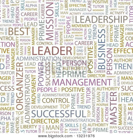 LEADER. Seamless vector background. Wordcloud illustration.