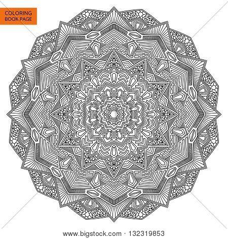 Outline Mandala Flower for Coloring Page. Intricate black mandala.