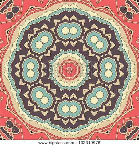 Stylized seamless mandala flower for greeting card, Brochure, Card or Invitation with Islamic, Arabic, Indian, Ottoman, Asian motifs. Abstract Retro Stylized flowers wallpaper