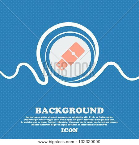 Usb Flash Sign. Blue And White Abstract Background Flecked With Space For Text And Your Design. Vect