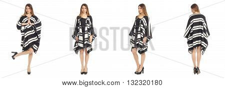 Beautiful Young Girl In Fashionable  Poncho Coat Isolated
