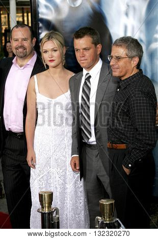 Marc Shmuger, Julia Stiles, Matt Damon and Ron Meyer at the Los Angeles premiere of 'The Bourne Ultimatum' held at the ArcLight Cinemas in Hollywood, USA on July 25, 2007.