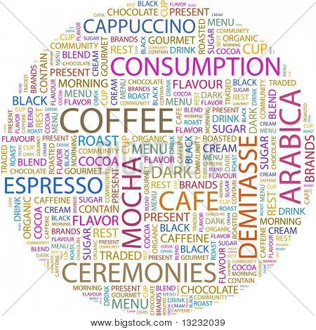 COFFEE. Word collage on white background. Vector illustration.