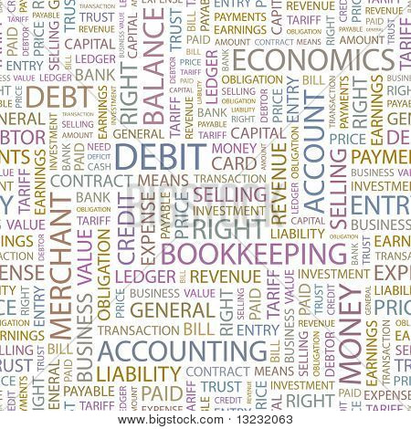 DEBIT. Seamless vector pattern with word cloud.