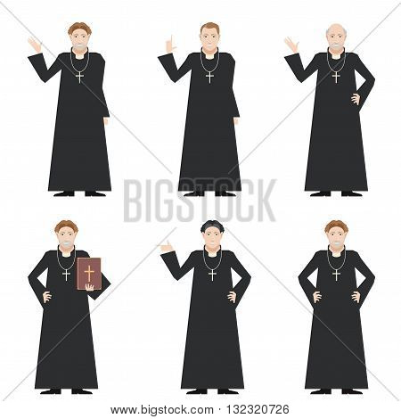 Vector image of the set of Catholic priests