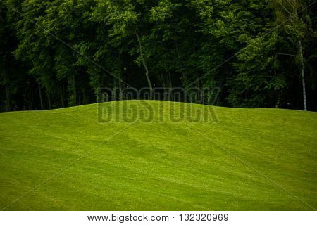 View nature landscape of beautiful golf course. Nice nature and environment with heavy forest or wood.