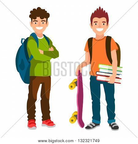 Two student with backpacks book and skateboard. The concept of school education. Vector illustrations isolated on white background. Schoolboys.