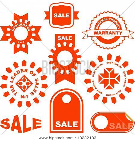 Red signs for sale. Vector collection