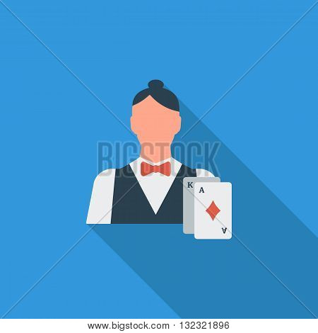 Live dealer icon. Flat vector related icon with long shadow for web and mobile applications. It can be used as - logo, pictogram, icon, infographic element. Vector Illustration.