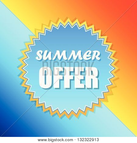 summer offer text in sun sign, orange and blue retro label, flat design, business seasonal shopping concept badge, vector