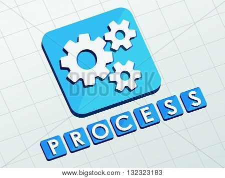 process and gear wheels symbol - text with sign in flat design web icon, business workflow concept, vector