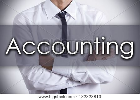 Accounting - Young Businessman With Text - Business Concept