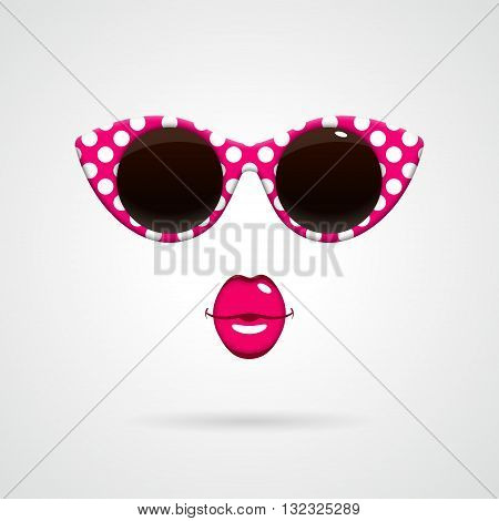 Vintage pink-and-white polka dots sunglasses and bright pink kissing lips. Fashion concept.