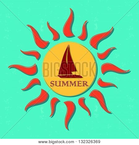 vintage label with text summer in drawn yellow sun with boat and orange rays over blue old paper background, vector