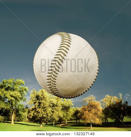 3d illustration of a baseball ball flying over a field
