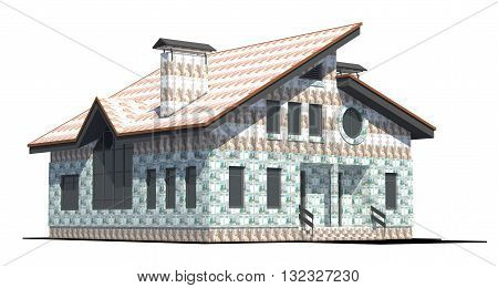 Two-storey private house with a pitched roof covered outside bills of Russian money. On a white background. Symbolizes the investing in real estate.3D render