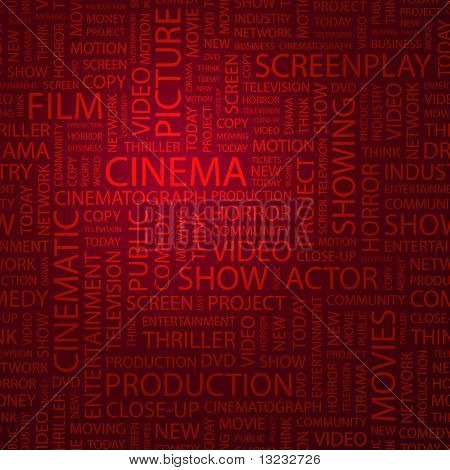 CINEMA. Word collage. Vector illustration.