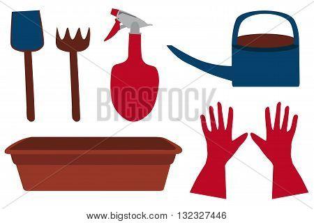 Garden set: blue shovel, brown rake, red sprinkler, blue watering can, gloves and plant tray, vector
