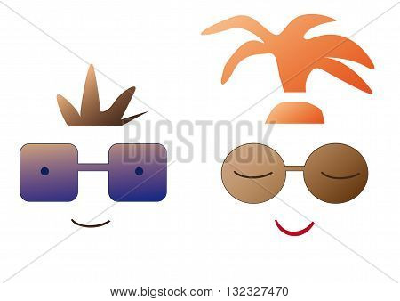 Cartoon people in sunglasses schematic, vector illustration
