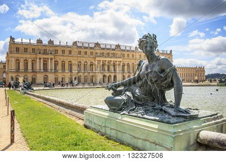 VERSAILLES, FRANCE - MAY 12, 2013: This is view of Palace of Versailles from one of fountains