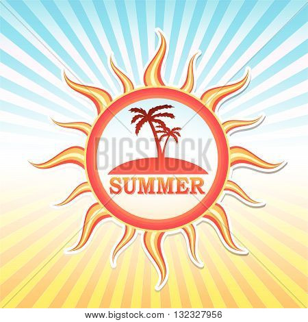label with text summer and drawn palms in sun in yellow red gradient and blue orange rays, vector