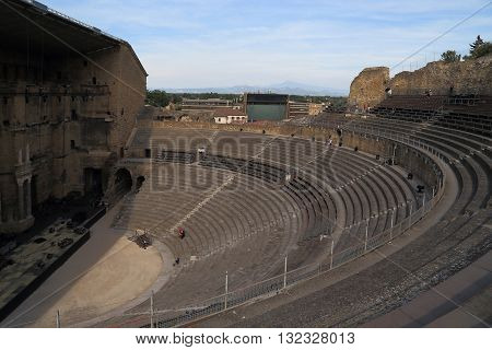 ORANGE, FRANCE - MAY 23, 2015: This is the ancient Roman Theatre which is one of the most completely preserved structures of ancient times.