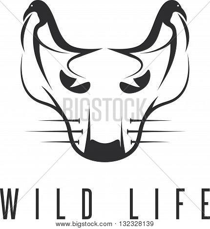 Wild Cat With Birds In Ears Concept Vector Design Template