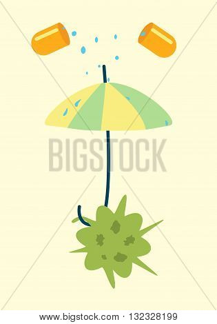 Antibiotics resistance umbrella concept. Vector illustration of a bacteria defending against pill