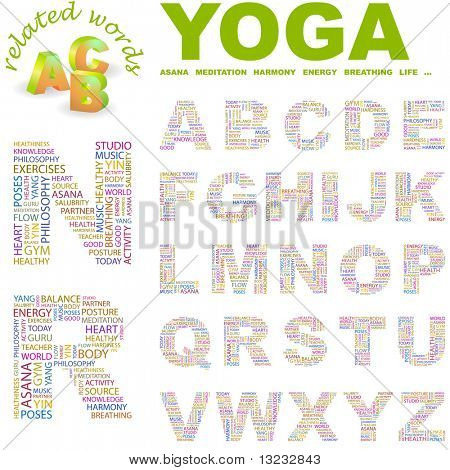YOGA. Vector letter collection. Wordcloud illustration.