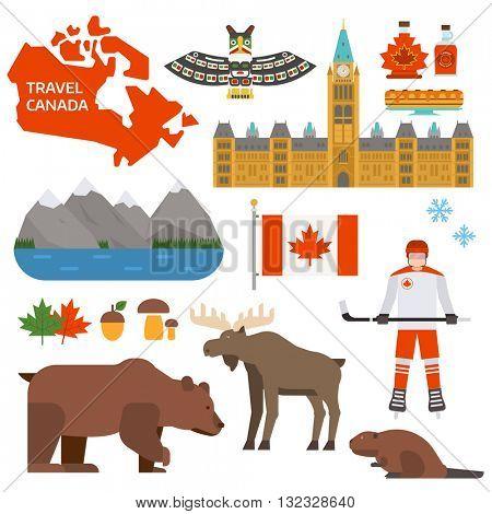 Canada symbols vector illustration.