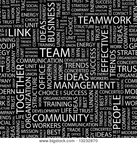 TEAM. Seamless vector background. Wordcloud illustration.