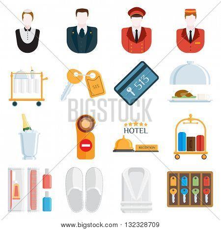 Hotel icons vector illustration.
