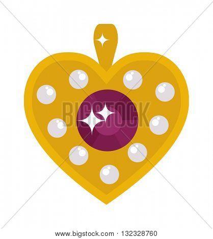 Crystal shiny gold heart accessory brooch