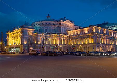 SAINT PETERSBURG, RUSSIA - APRIL 23, 2016: The old building of the Mariinsky theatre, night in april. Historical landmark of the city Saint Petersburg