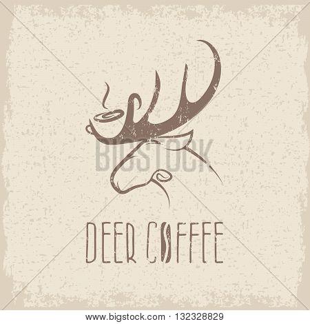 Deer Coffee Negative Space Concept Grunge Vector Design Template