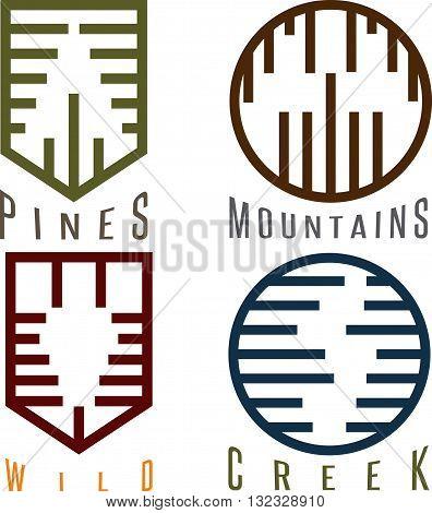 Outdoor Adventure Rhythm Style Vector Sticker Set