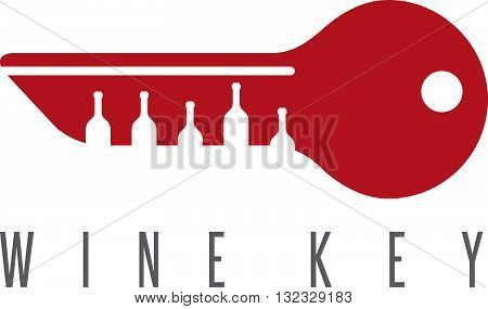 Wine Key Concept With Bottles Vector Design Template