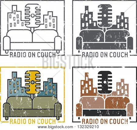 Vintage Grunge Labels Of Radio With Microphone And Couch